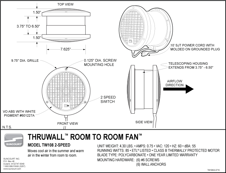 Thruwall Room To Room Fan : Suncourt home